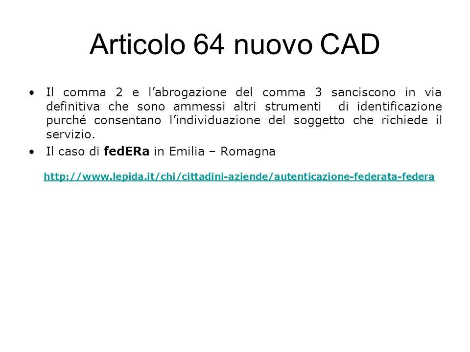 Articolo 64 nuovo CAD