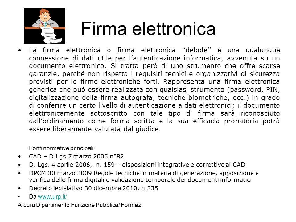 Firma elettronica Fonti normative principali: