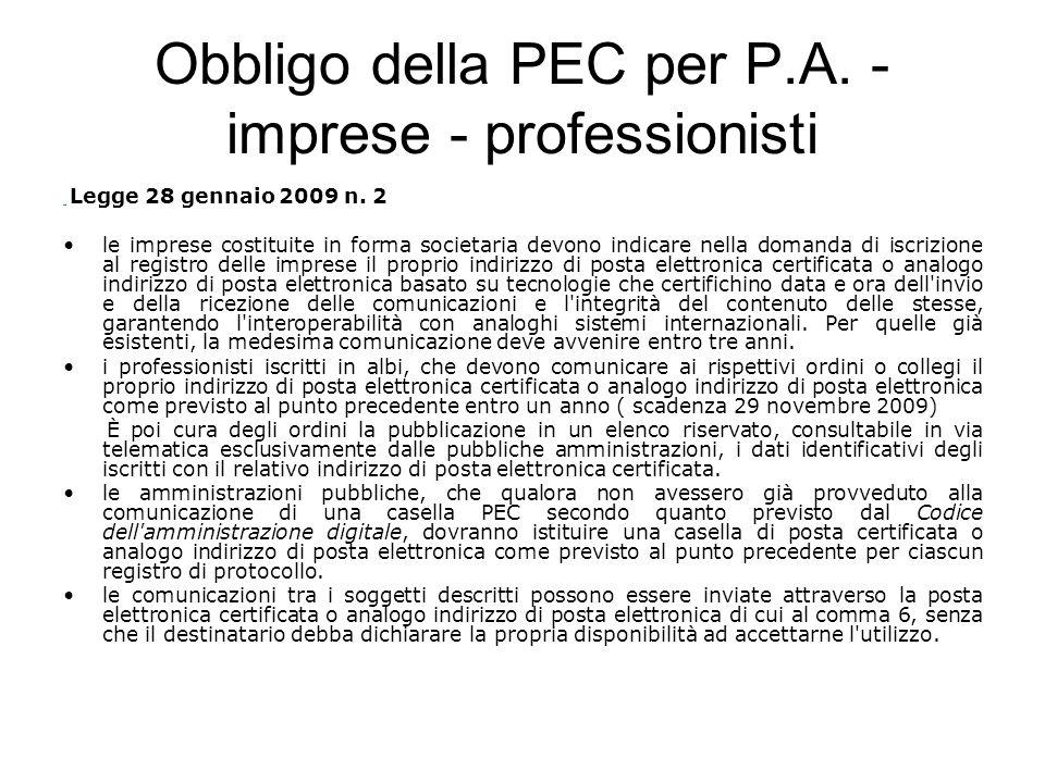 Obbligo della PEC per P.A. - imprese - professionisti