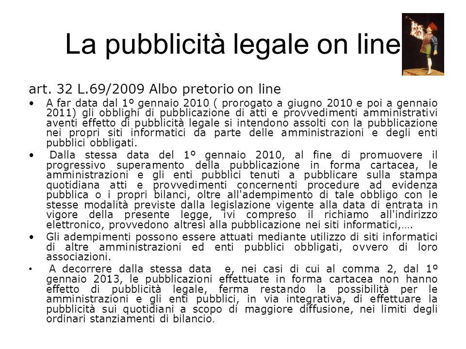 La pubblicità legale on line