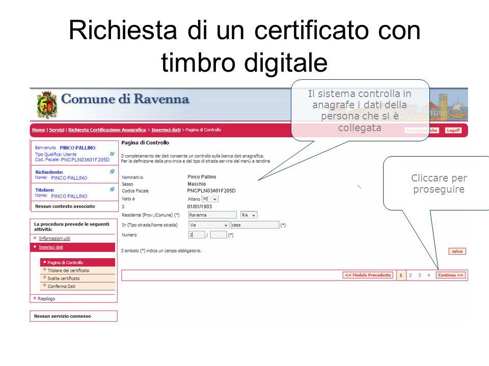 Richiesta di un certificato con timbro digitale