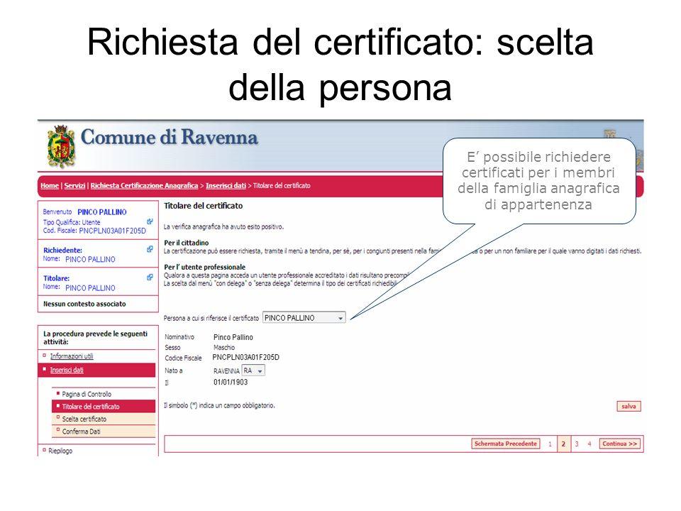 Richiesta del certificato: scelta della persona