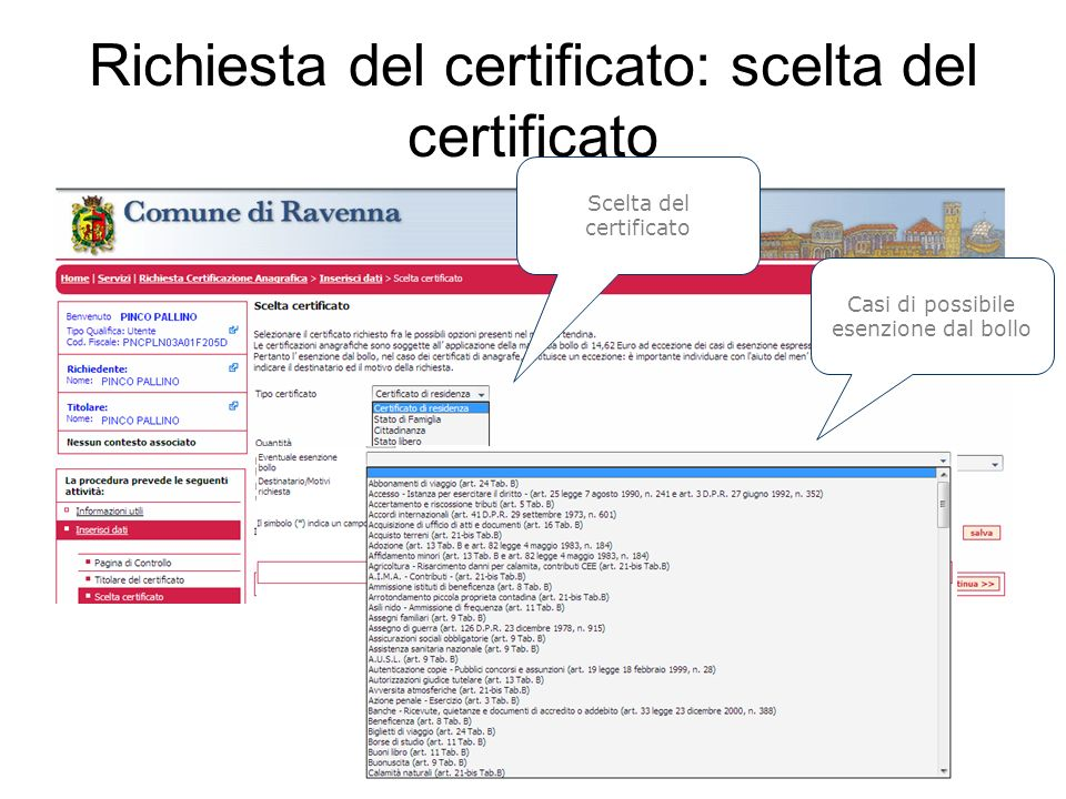 Richiesta del certificato: scelta del certificato