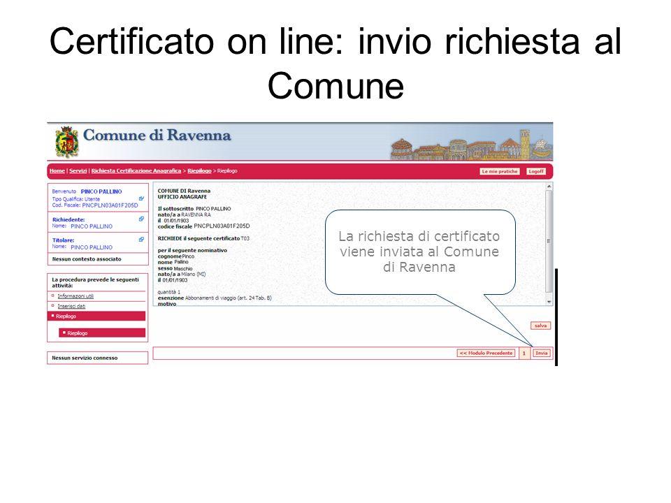 Certificato on line: invio richiesta al Comune