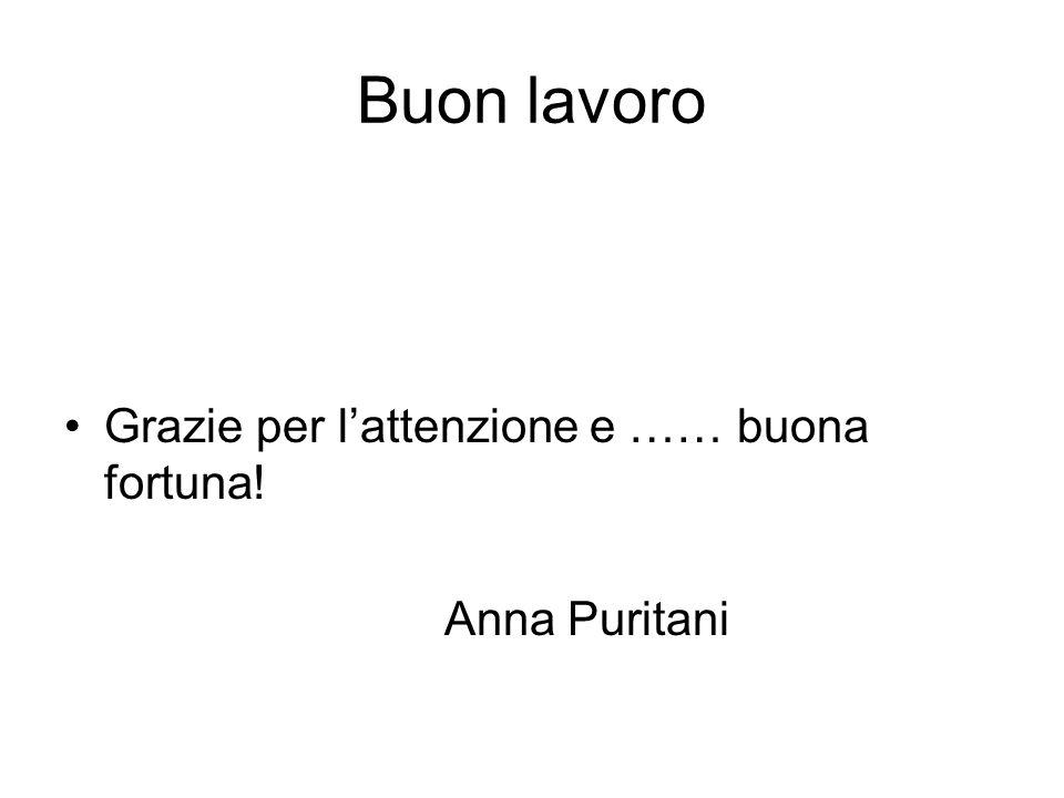 Buon lavoro Grazie per l'attenzione e …… buona fortuna! Anna Puritani