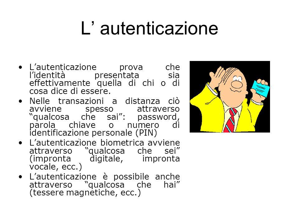 L' autenticazione L'autenticazione prova che l'identità presentata sia effettivamente quella di chi o di cosa dice di essere.