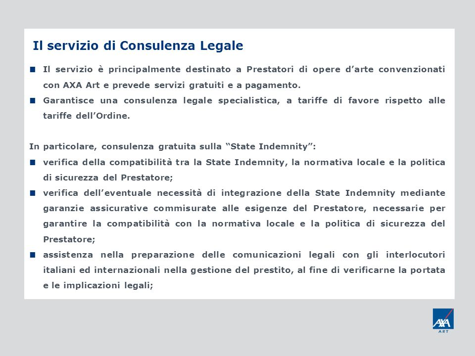 Il servizio di Consulenza Legale