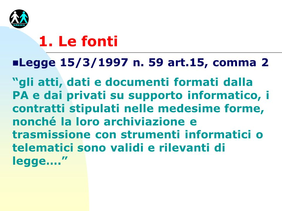 1. Le fonti Legge 15/3/1997 n. 59 art.15, comma 2
