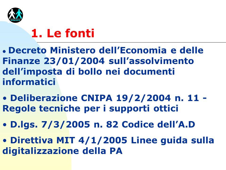 1. Le fontiDecreto Ministero dell'Economia e delle Finanze 23/01/2004 sull'assolvimento dell'imposta di bollo nei documenti informatici.