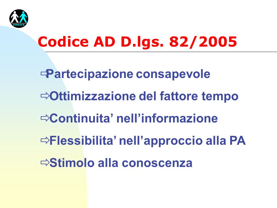 Codice AD D.lgs. 82/2005 Partecipazione consapevole