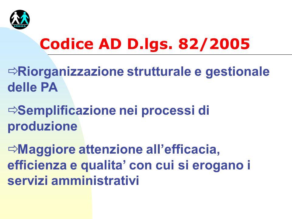 Codice AD D.lgs. 82/2005 Riorganizzazione strutturale e gestionale delle PA. Semplificazione nei processi di produzione.