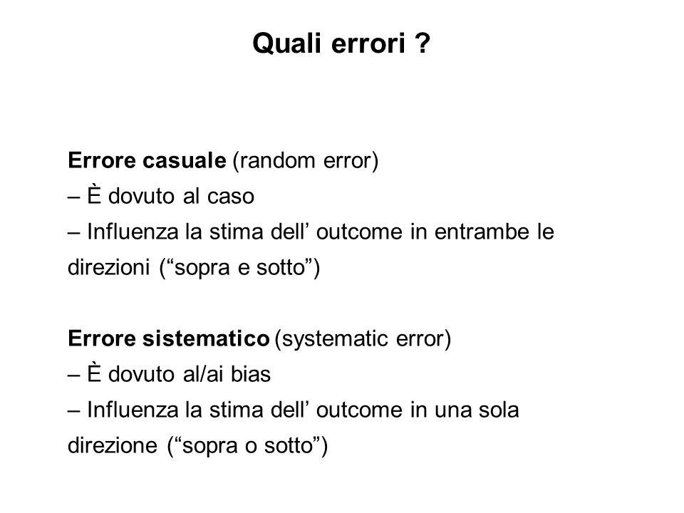 Quali errori Errore casuale (random error) – È dovuto al caso