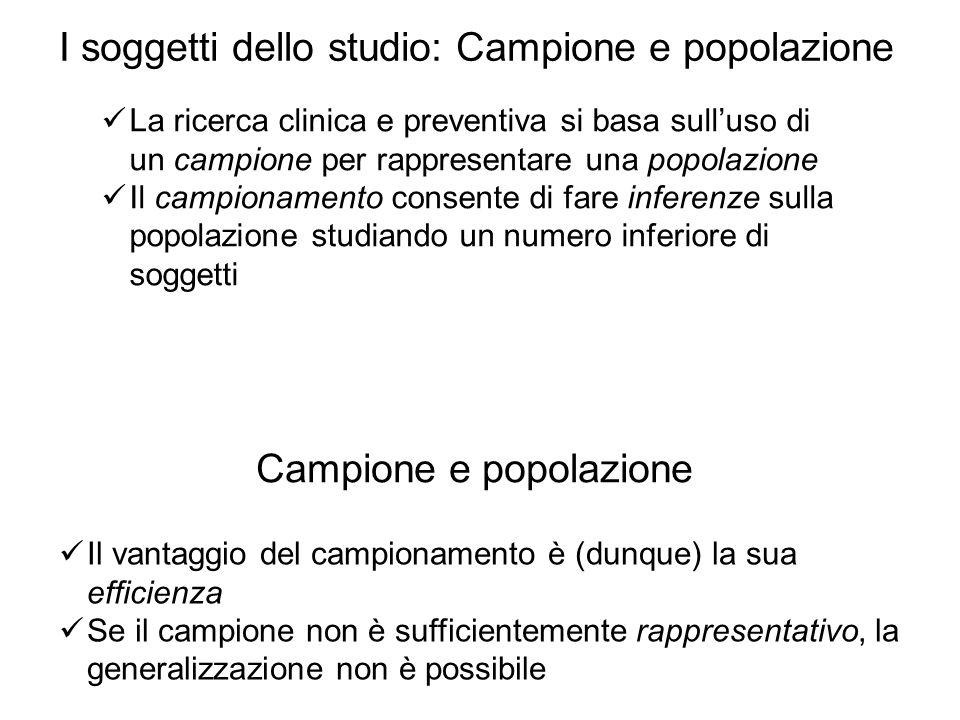 I soggetti dello studio: Campione e popolazione
