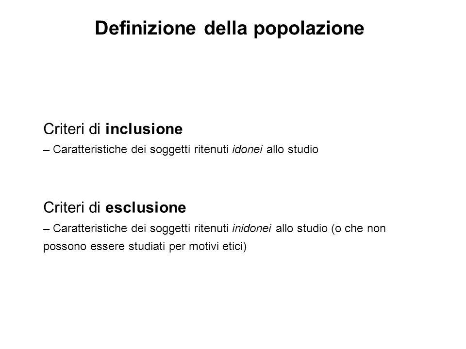 Definizione della popolazione