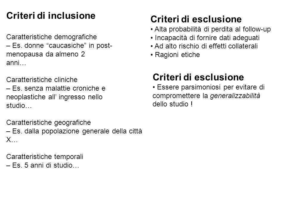 Criteri di inclusione Criteri di esclusione Criteri di esclusione
