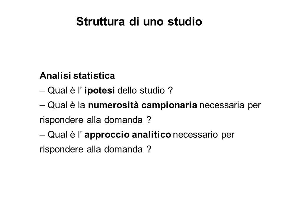 Struttura di uno studio