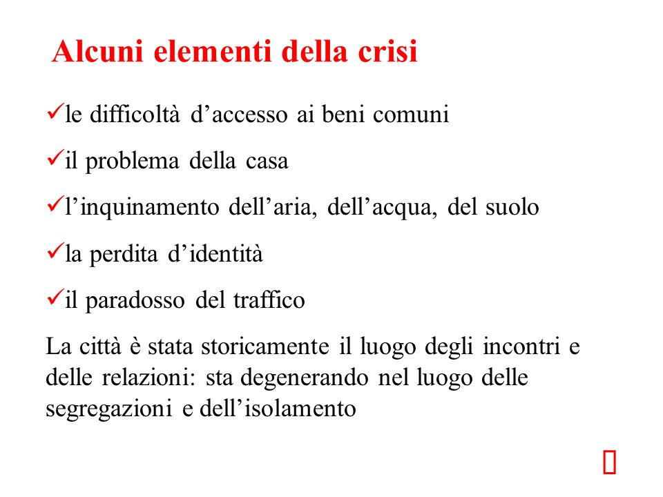 Alcuni elementi della crisi
