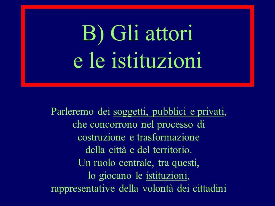 B) Gli attori e le istituzioni