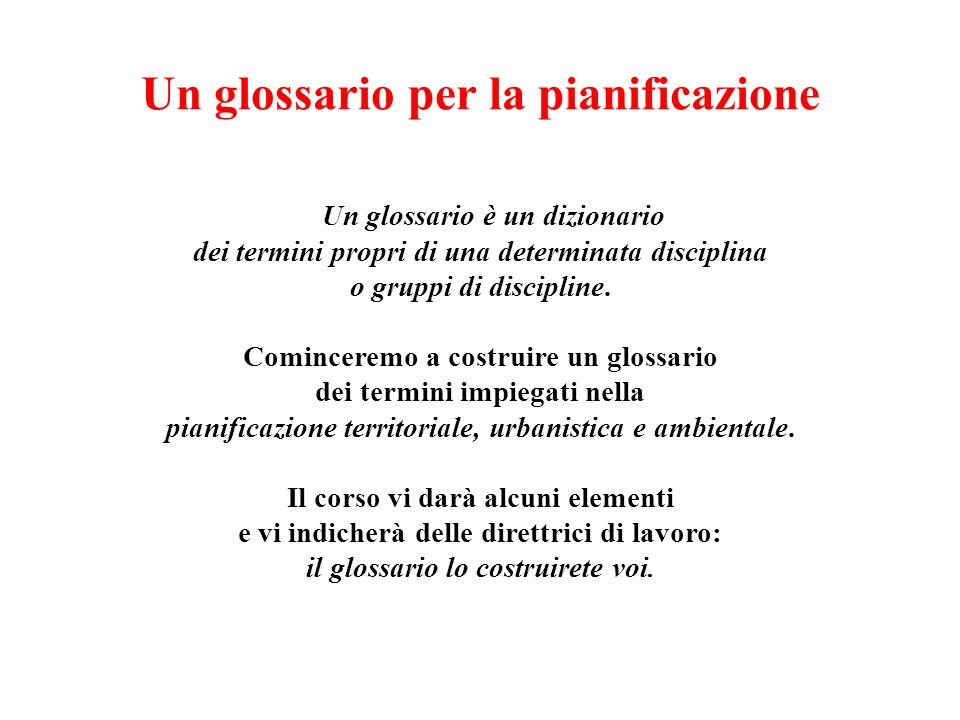 Un glossario per la pianificazione