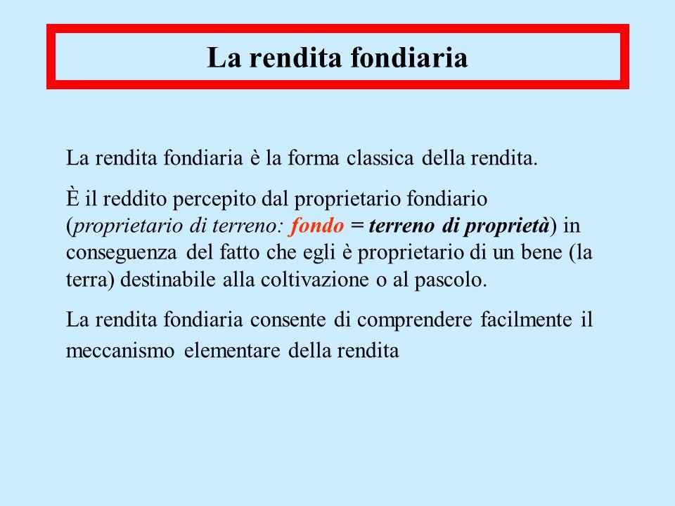 La rendita fondiaria La rendita fondiaria è la forma classica della rendita.