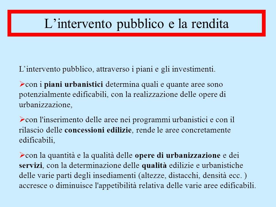L'intervento pubblico e la rendita