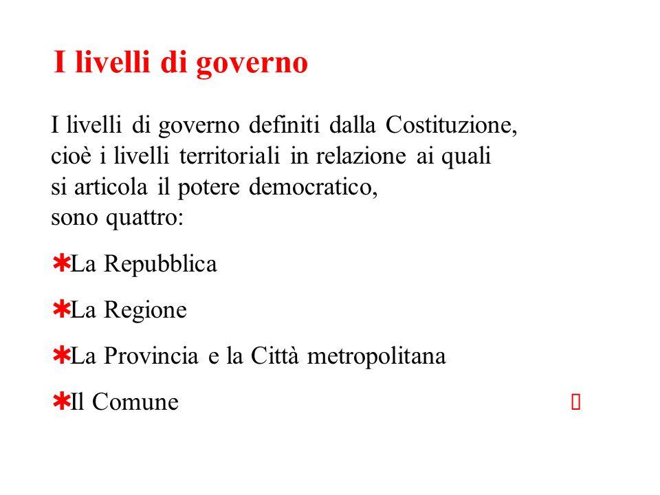 I livelli di governo