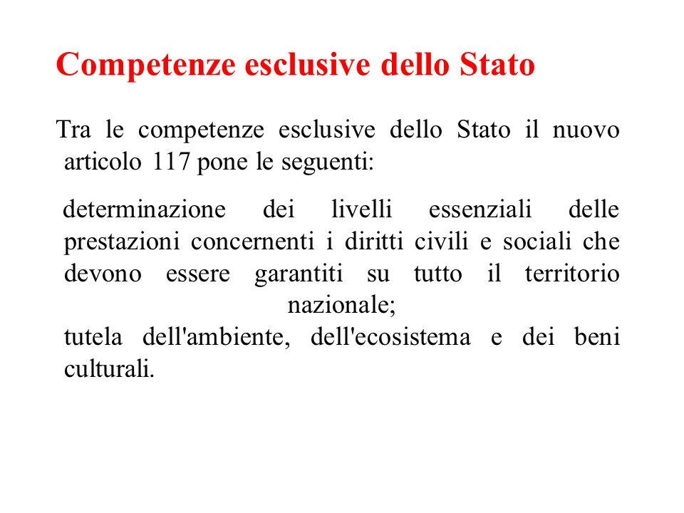 Competenze esclusive dello Stato