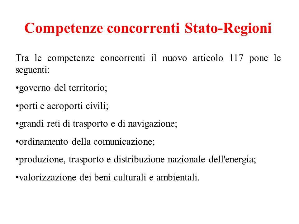 Competenze concorrenti Stato-Regioni