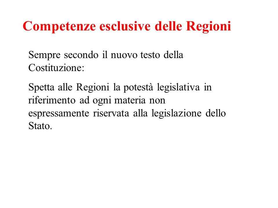 Competenze esclusive delle Regioni