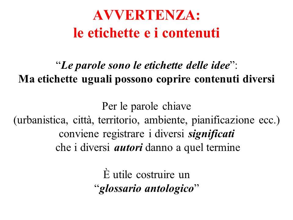 AVVERTENZA: le etichette e i contenuti