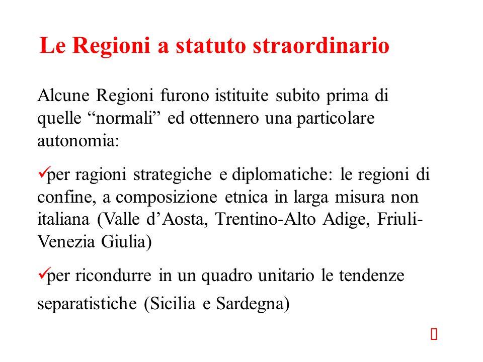 Le Regioni a statuto straordinario