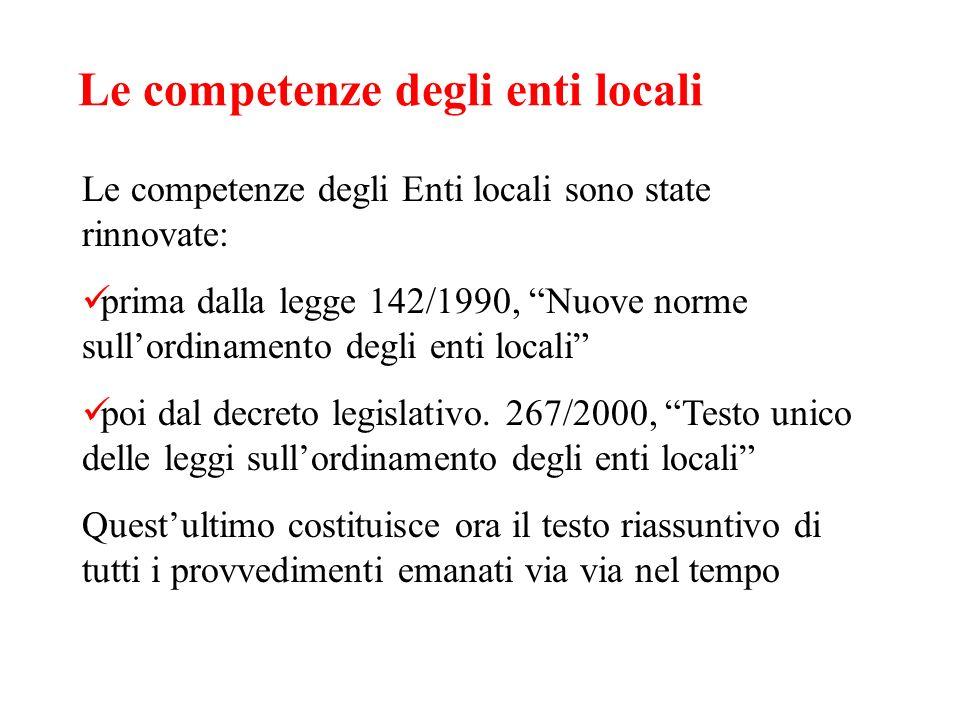 Le competenze degli enti locali