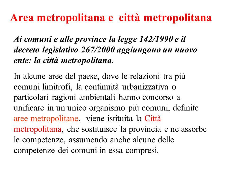 Area metropolitana e città metropolitana