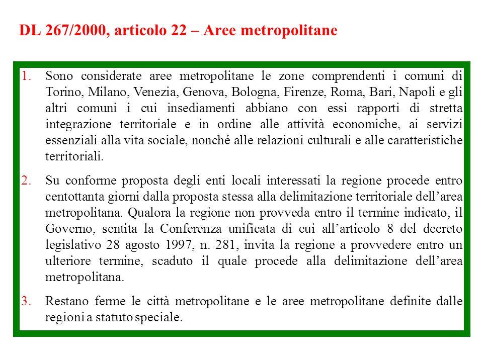 DL 267/2000, articolo 22 – Aree metropolitane