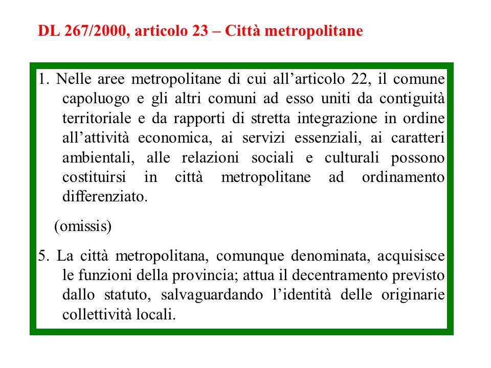 DL 267/2000, articolo 23 – Città metropolitane