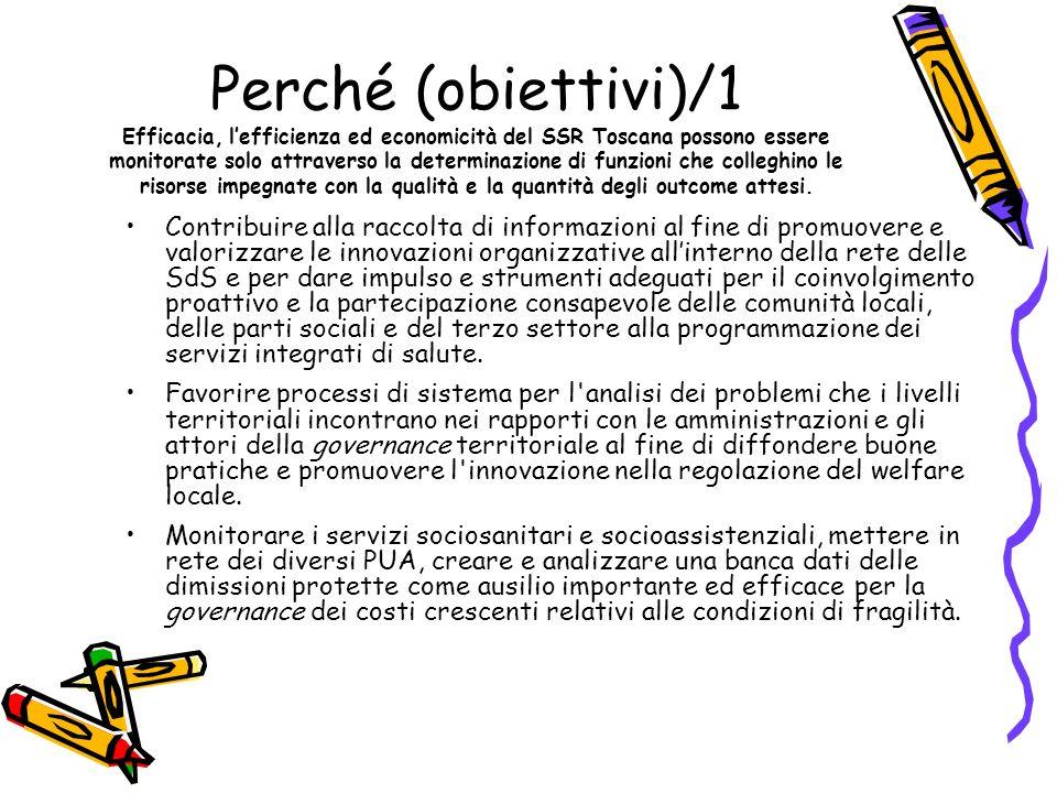 Perché (obiettivi)/1 Efficacia, l'efficienza ed economicità del SSR Toscana possono essere monitorate solo attraverso la determinazione di funzioni che colleghino le risorse impegnate con la qualità e la quantità degli outcome attesi.
