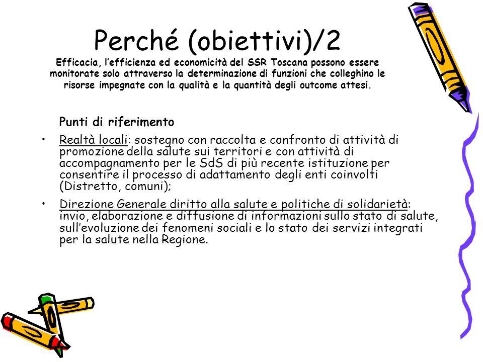 Perché (obiettivi)/2 Efficacia, l'efficienza ed economicità del SSR Toscana possono essere monitorate solo attraverso la determinazione di funzioni che colleghino le risorse impegnate con la qualità e la quantità degli outcome attesi.