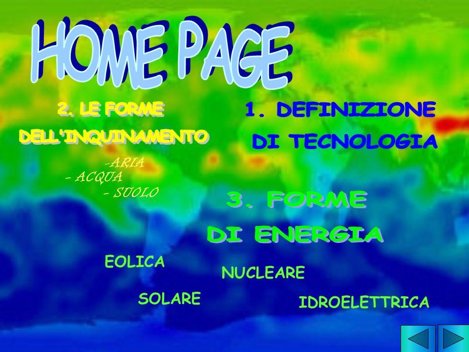 HOME PAGE 2. LE FORME DELL INQUINAMENTO 1. DEFINIZIONE DI TECNOLOGIA