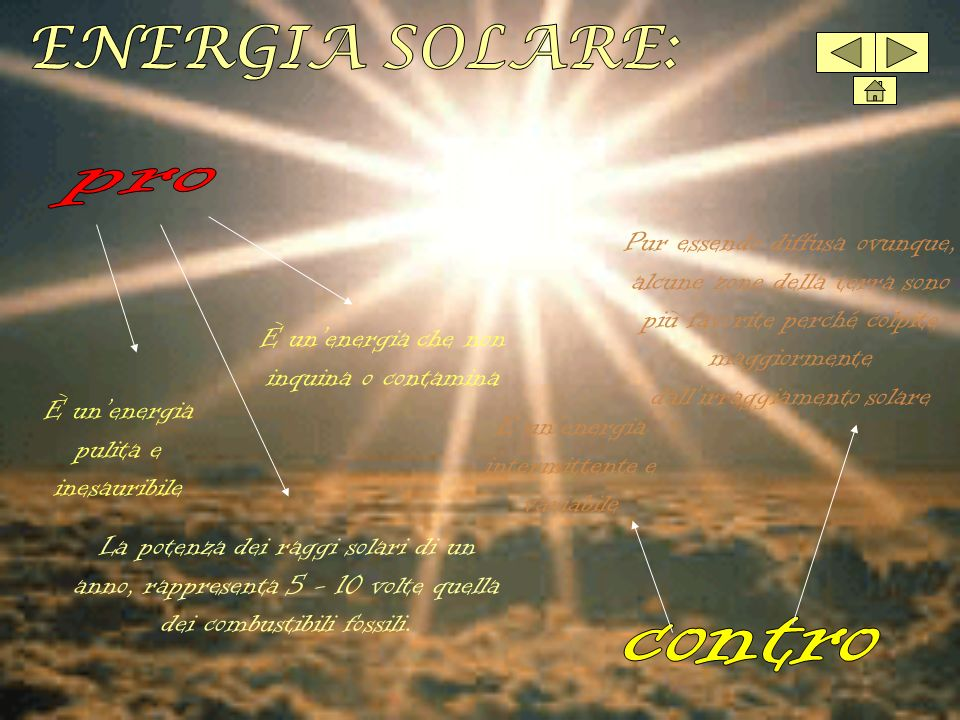 ENERGIA SOLARE: pro contro