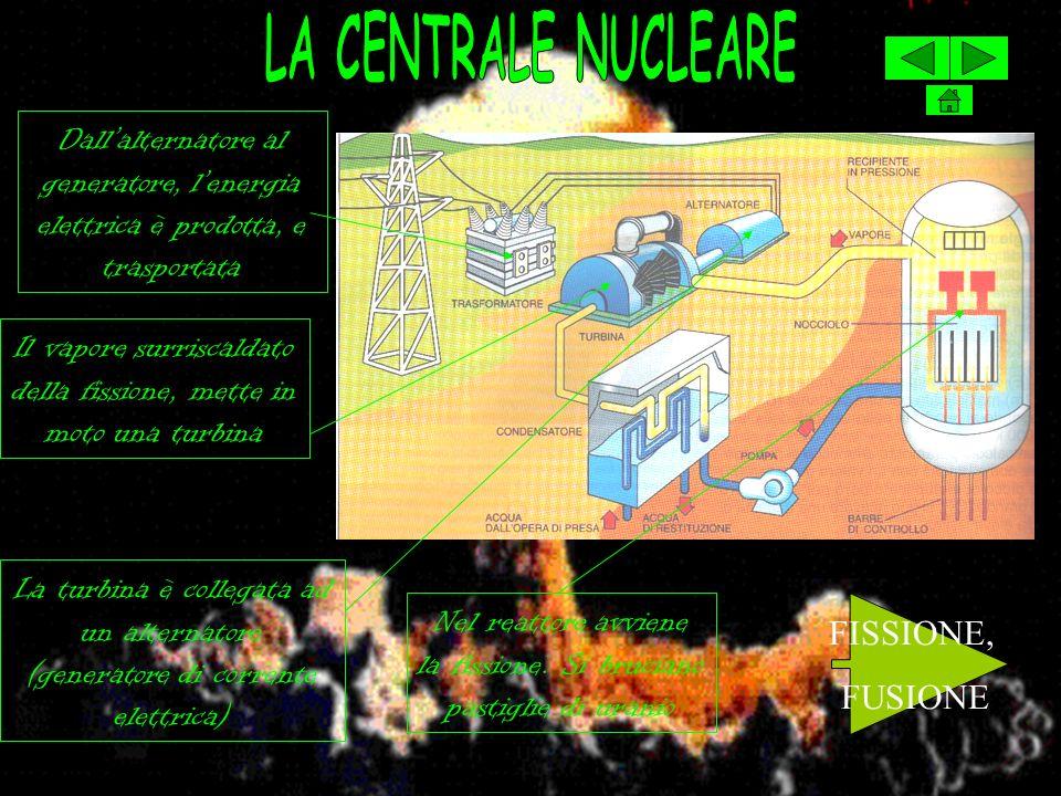 LA CENTRALE NUCLEARE Dall'alternatore al generatore, l'energia elettrica è prodotta, e trasportata.