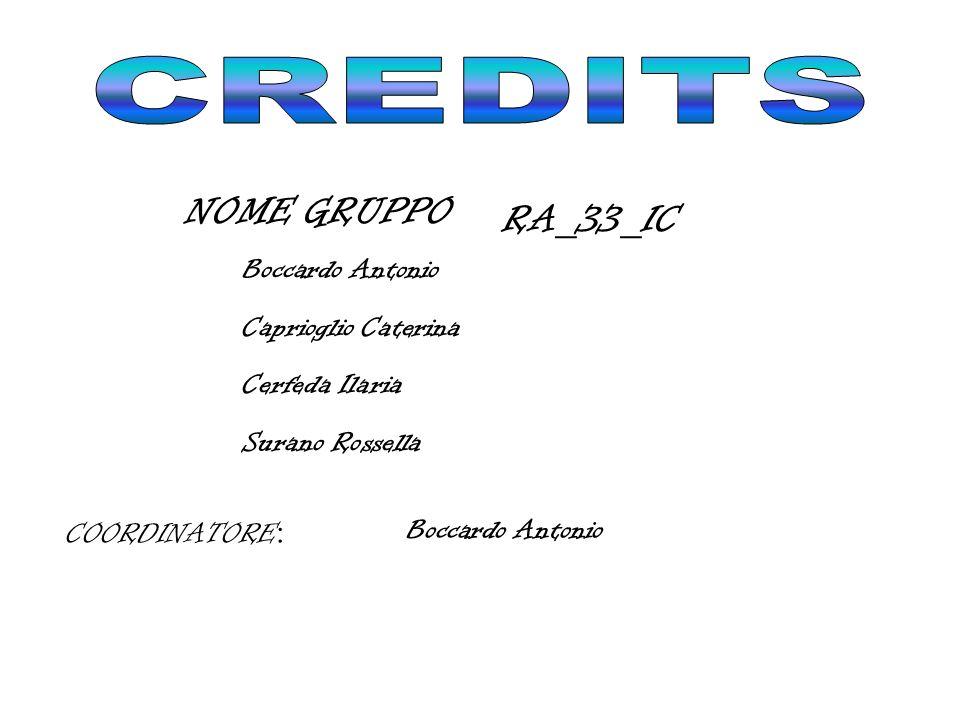 CREDITS NOME GRUPPO: RA_33_IC Boccardo Antonio AUTORI: