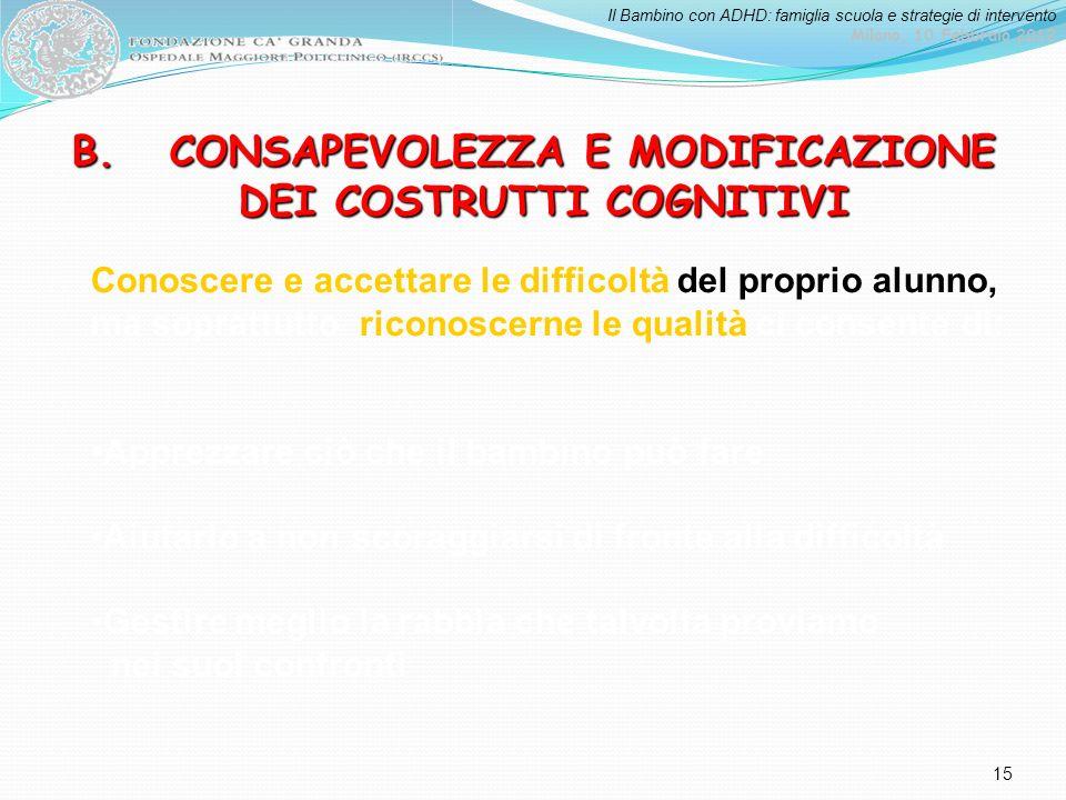 B. CONSAPEVOLEZZA E MODIFICAZIONE DEI COSTRUTTI COGNITIVI