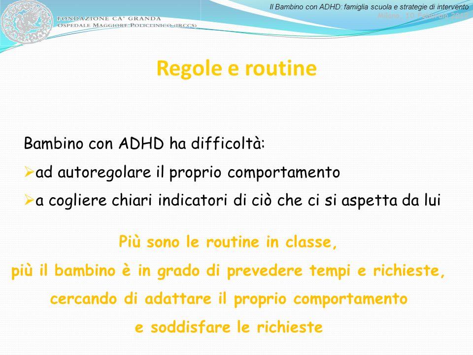 Regole e routine Bambino con ADHD ha difficoltà: