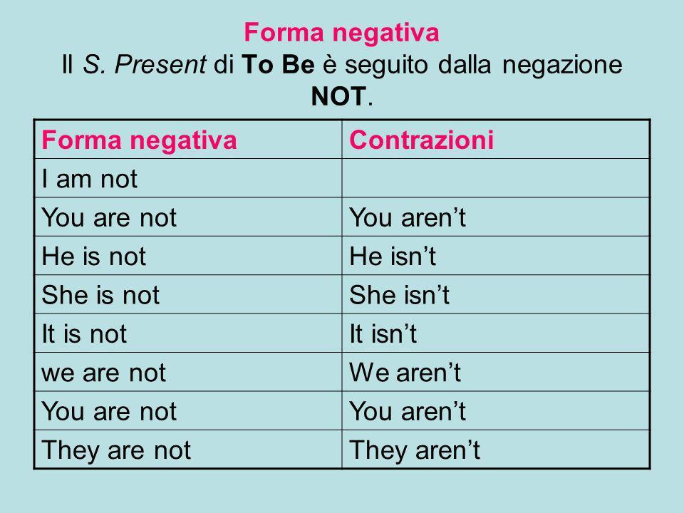 Forma negativa Il S. Present di To Be è seguito dalla negazione NOT.