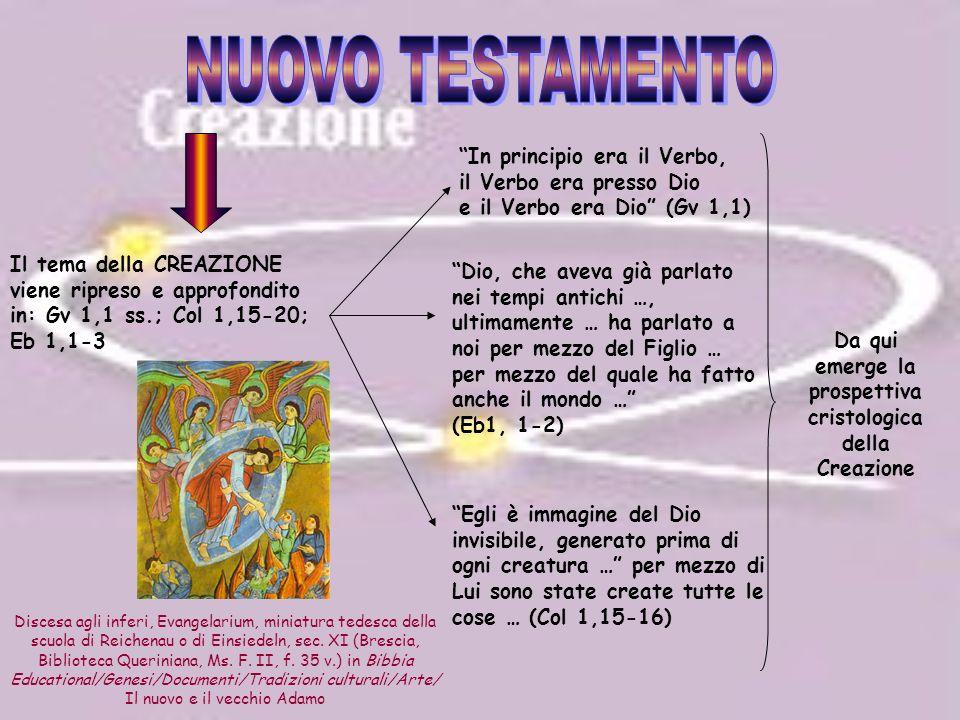 Da qui emerge la prospettiva cristologica della Creazione