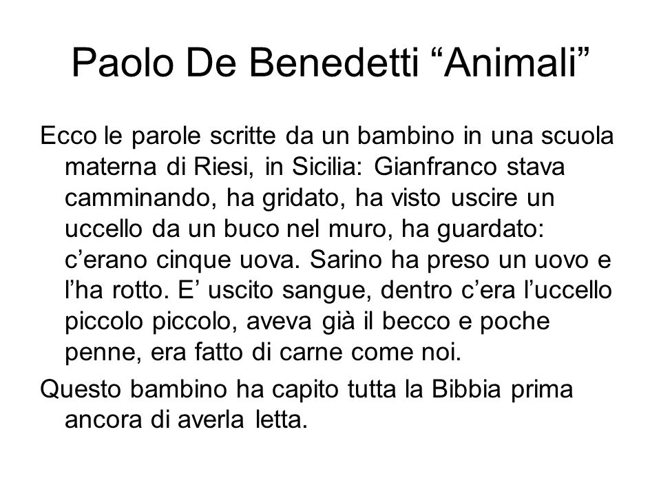 Paolo De Benedetti Animali