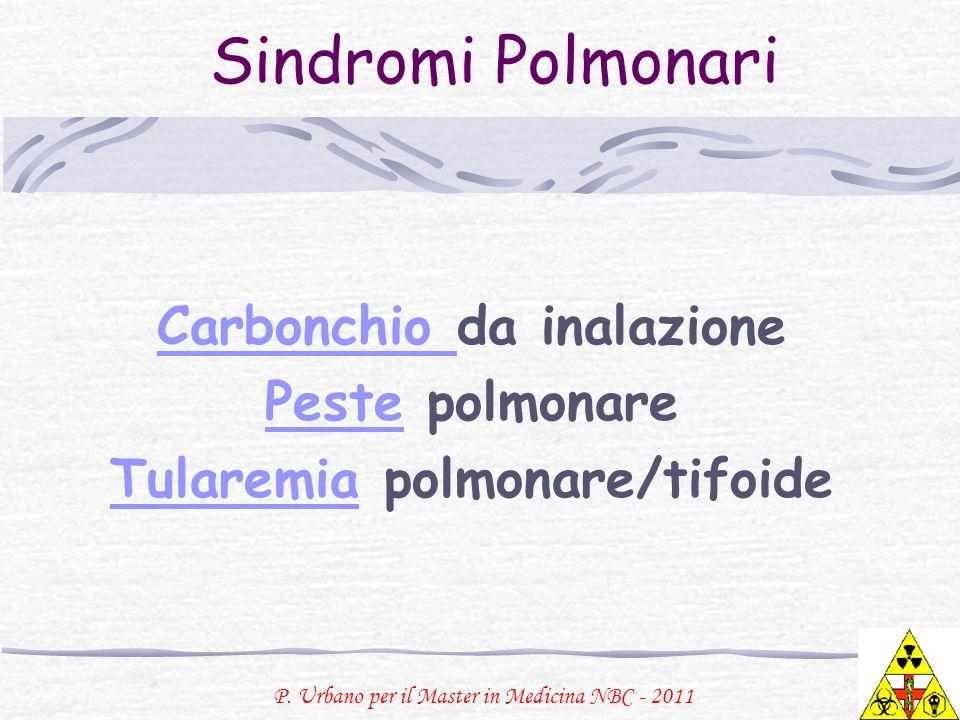 Carbonchio da inalazione Peste polmonare Tularemia polmonare/tifoide