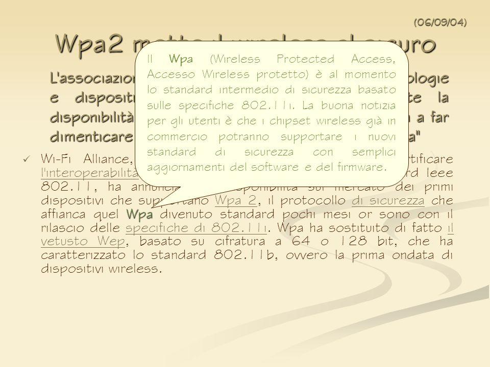 Wpa2 mette il wireless al sicuro
