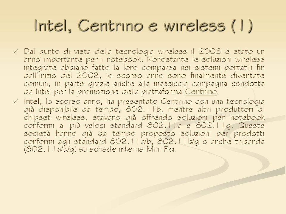 Intel, Centrino e wireless (1)