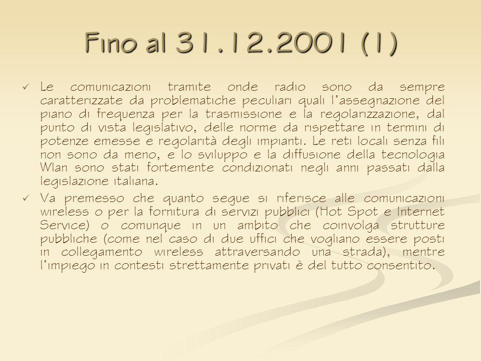 Fino al 31.12.2001 (1)